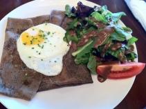 Crepe, egg, and salad