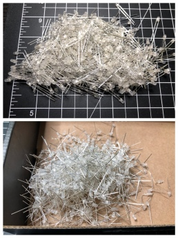 Over 500 LEDs before and after being bent. It took over 90 minutes to test and bend them all.