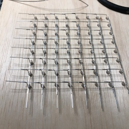 One 8x8 grid all soldered in the jig.