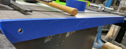 Used a piece of tape to transfer holes from the saw table